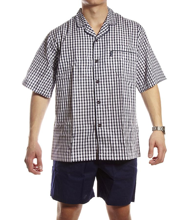 Men/'s Jockey Summer Short Pyjama Checked Shorts Plain t-Shirt Nightwear Set