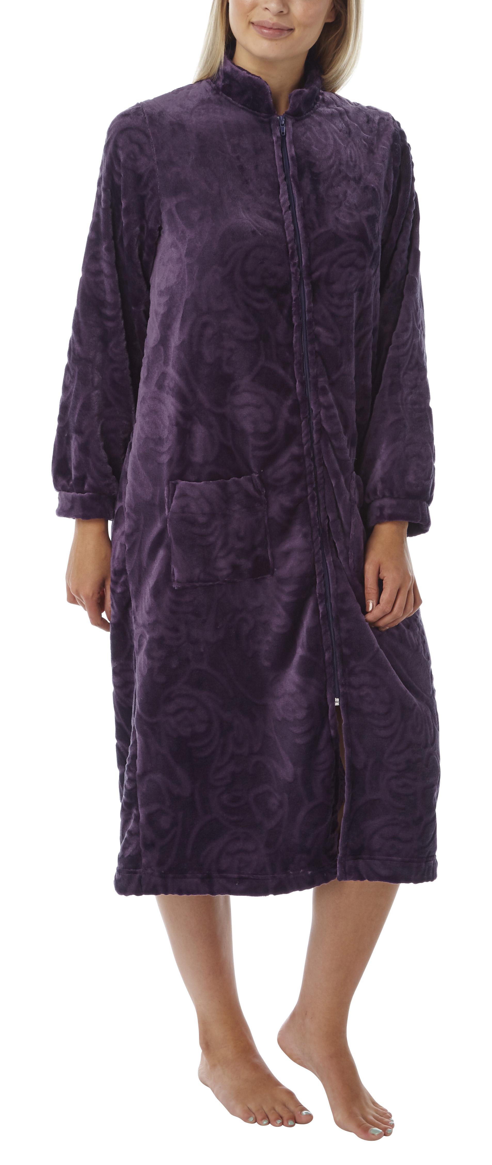 Ladies Marsylka Embossed Fleece Zip Housecoat 20-22 Aubergine | eBay