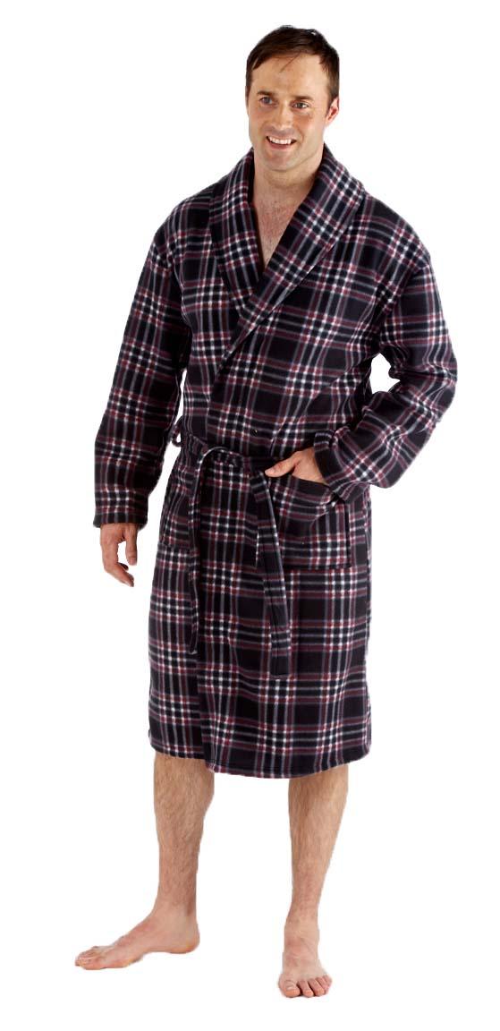 Mens Classic Checked Amp Plain Polar Fleece Bath Robe