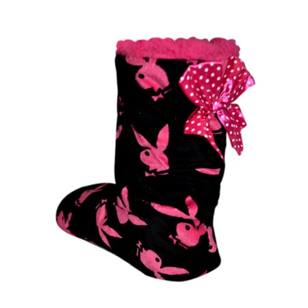 Ladies PLAYBOY Bunny Boot Socks Gripper sole Lounge Bootie Slippers XMAS Gift