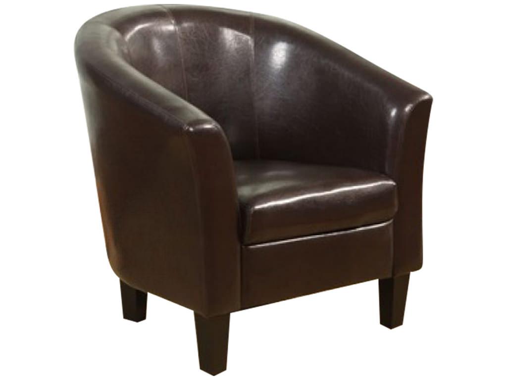 Dark Brown Faux Leather Armchair Sofa Seat Tub Club Chair