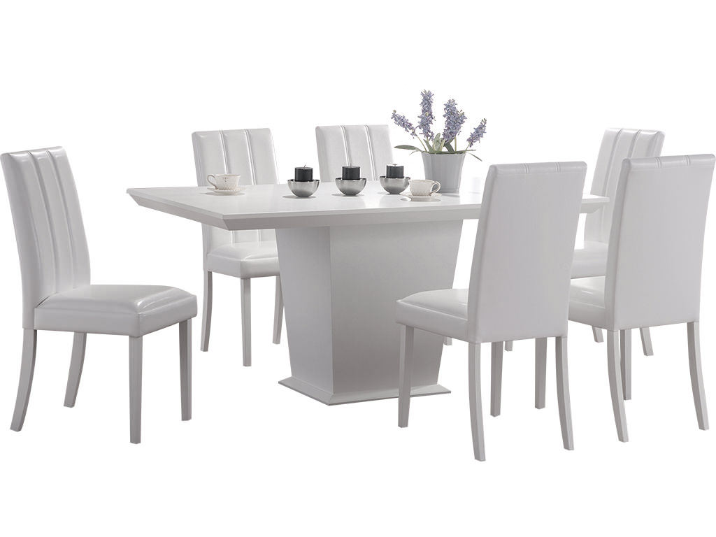 White Finish Dining Table And Chair Set With 6 Leather