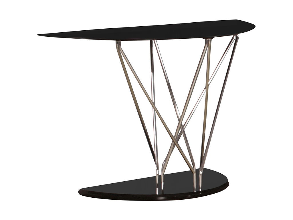 Black Glass Side Table: Black Glass & Chrome Hall Hallway Console Side Telephone