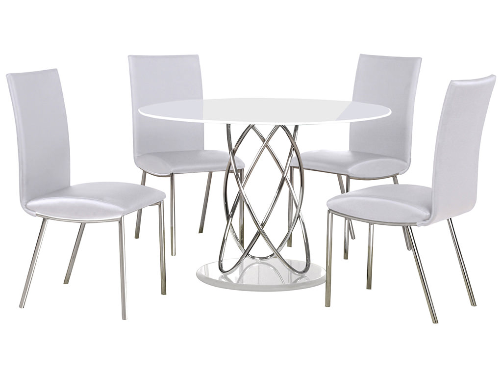 Chrome & Glass Round Dining Table And Chair Set With 4