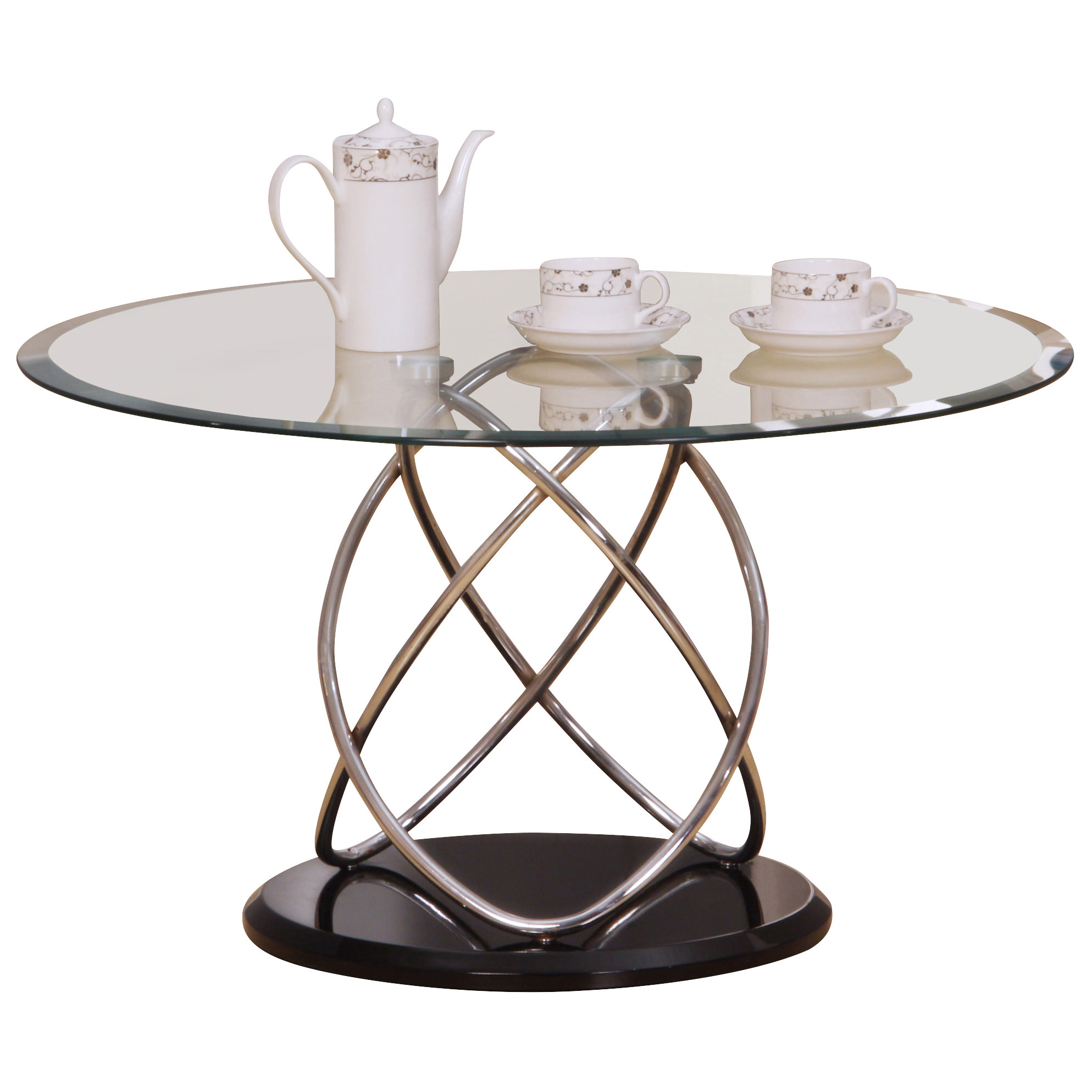 Chrome & Glass Metal Oval Coffee Table