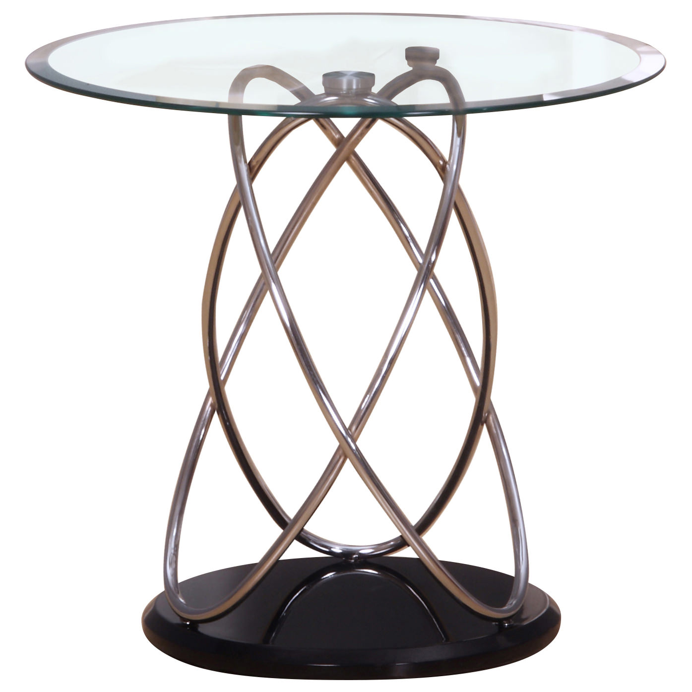 Chrome & Glass End Lamp Small Side Coffee Table
