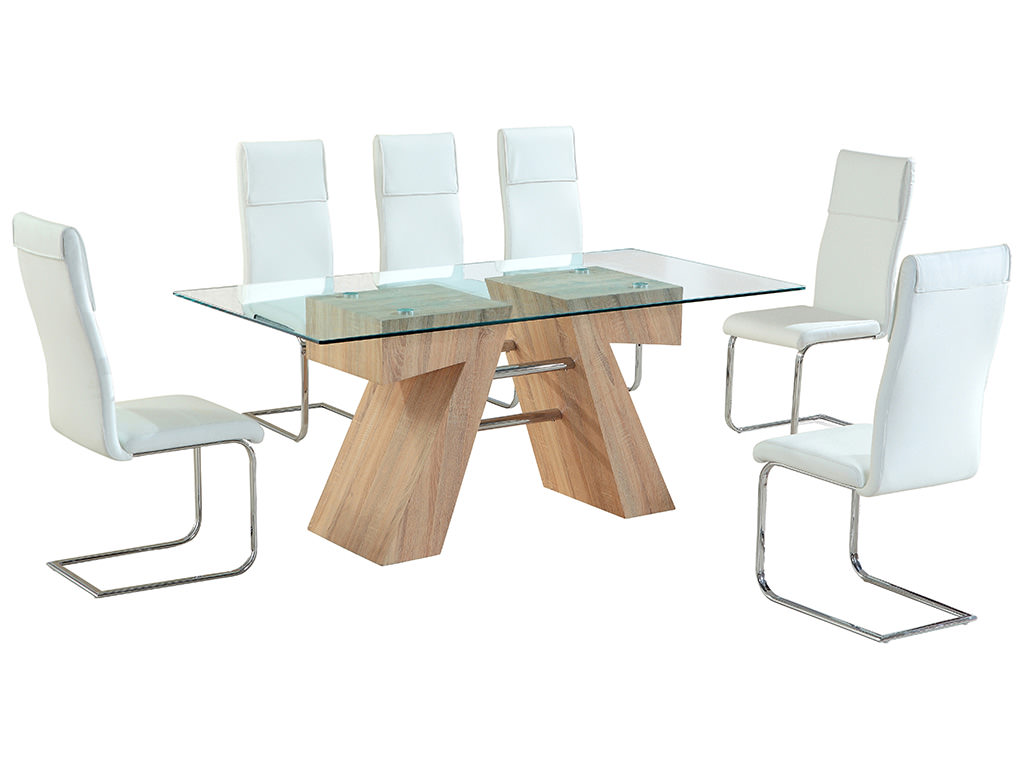 Glass Dining Table Set For 2: Oak Effect & Clear Glass Dining Table And Chair Set With 6