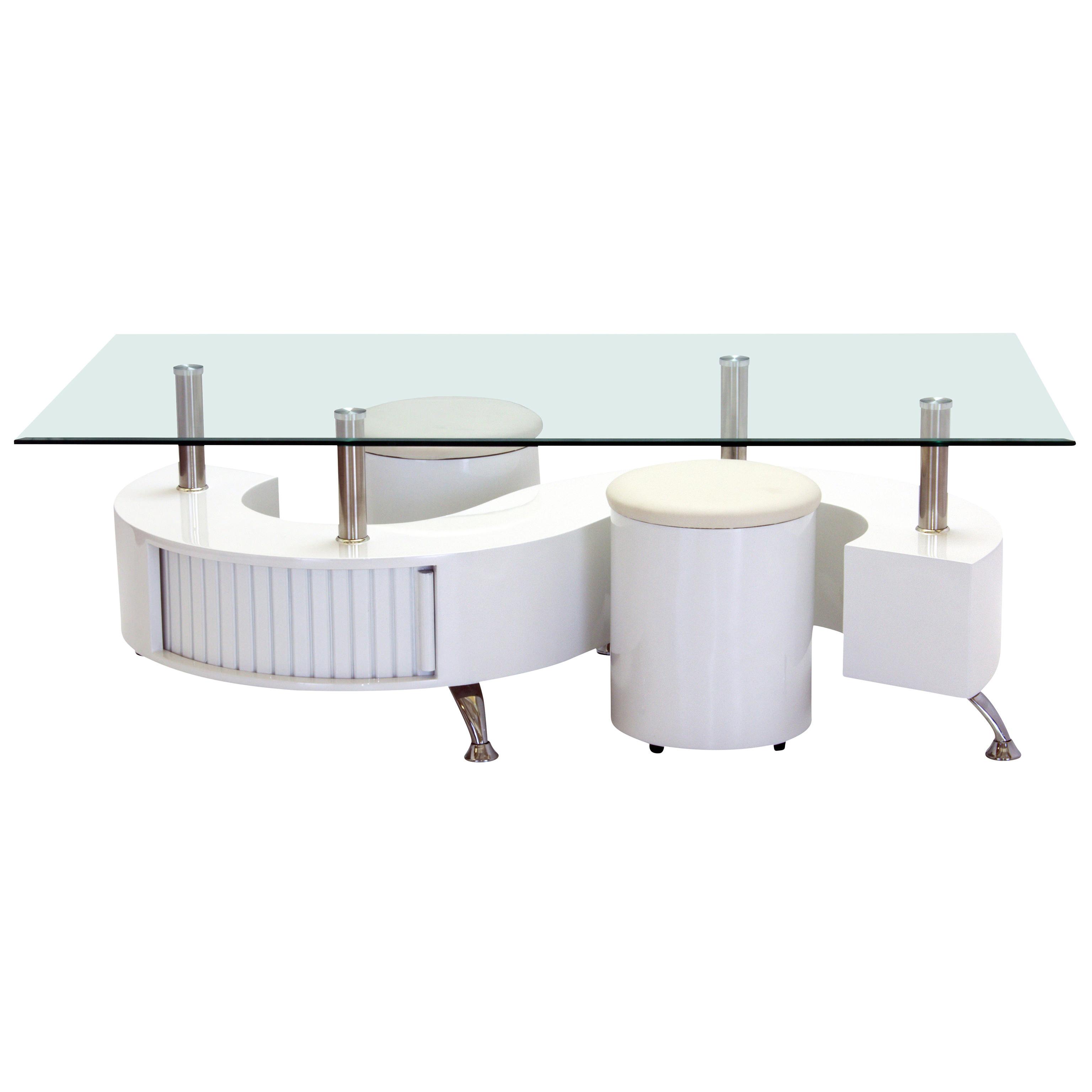 High Gloss Black Glass White Legs Designer Rectangle: High Gloss & Clear Glass Rectangle Coffee Table With
