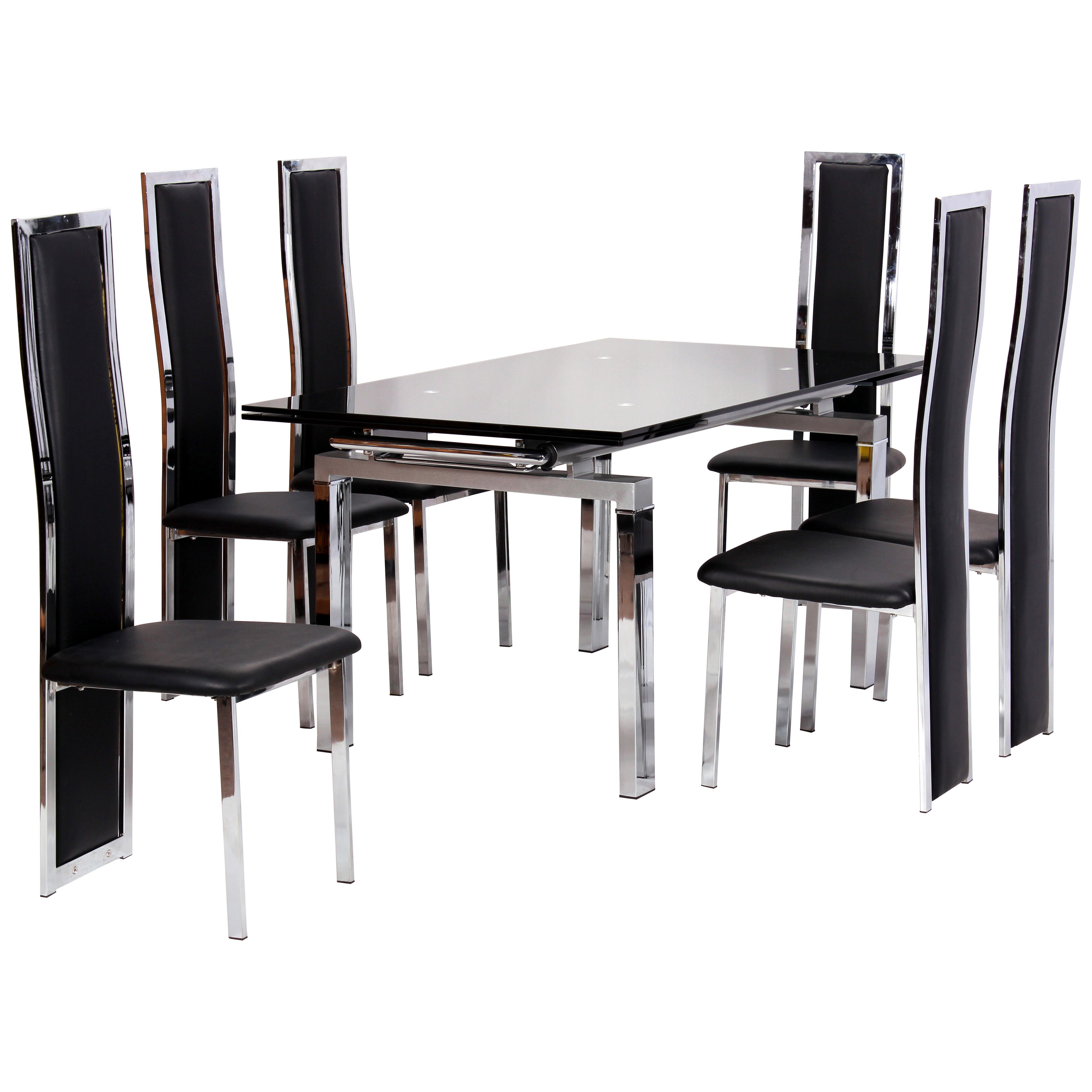 6 Chair Dining Set: Chrome & Glass Extending Dining Table And Chair Set With 6