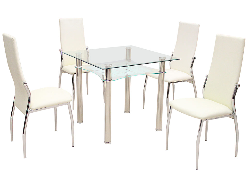 Glass Dining Table Set For 2: Metal & Glass Square Dining Table And Chair Set With 2/4