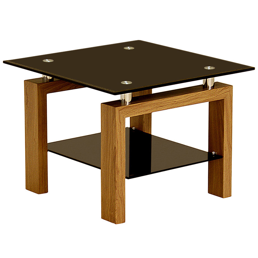 oak finish glass wood end lamp small square side table with shelf black clear ebay. Black Bedroom Furniture Sets. Home Design Ideas