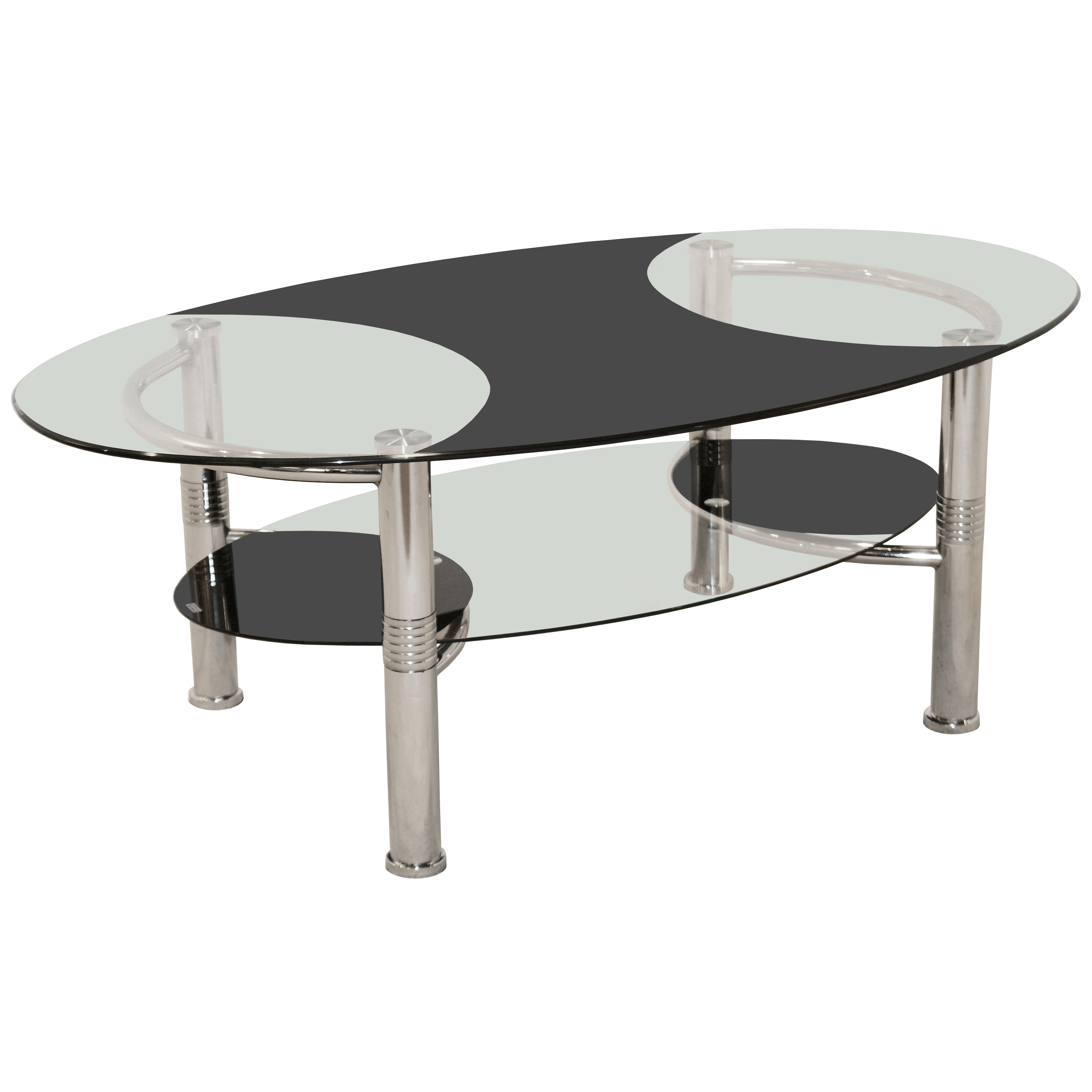 Ebay Iron Glass Coffee Table: Chrome Metal & Glass Oval Coffee Table With Shelf