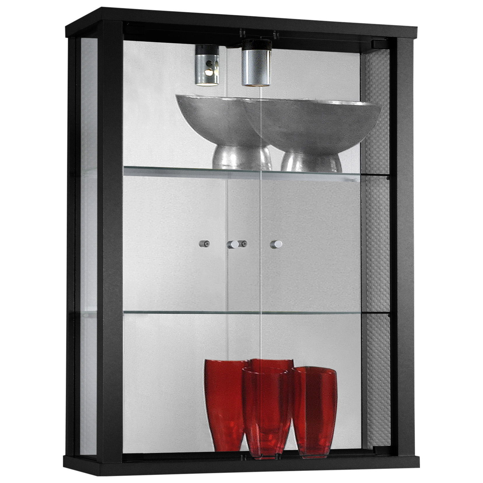 Hang Kitchen Cabinets Yourself: Clear Glass Hanging Storage Display Cupboard Cabinet Unit