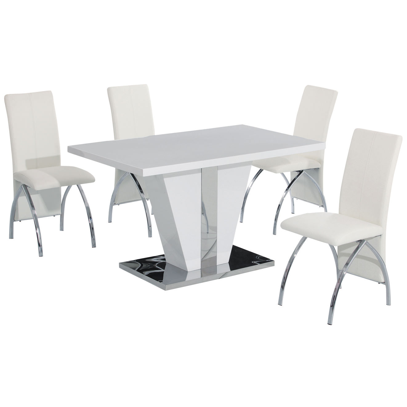 White And Black Dining Set: High Gloss Finish Dining Table And Chair Set With 4