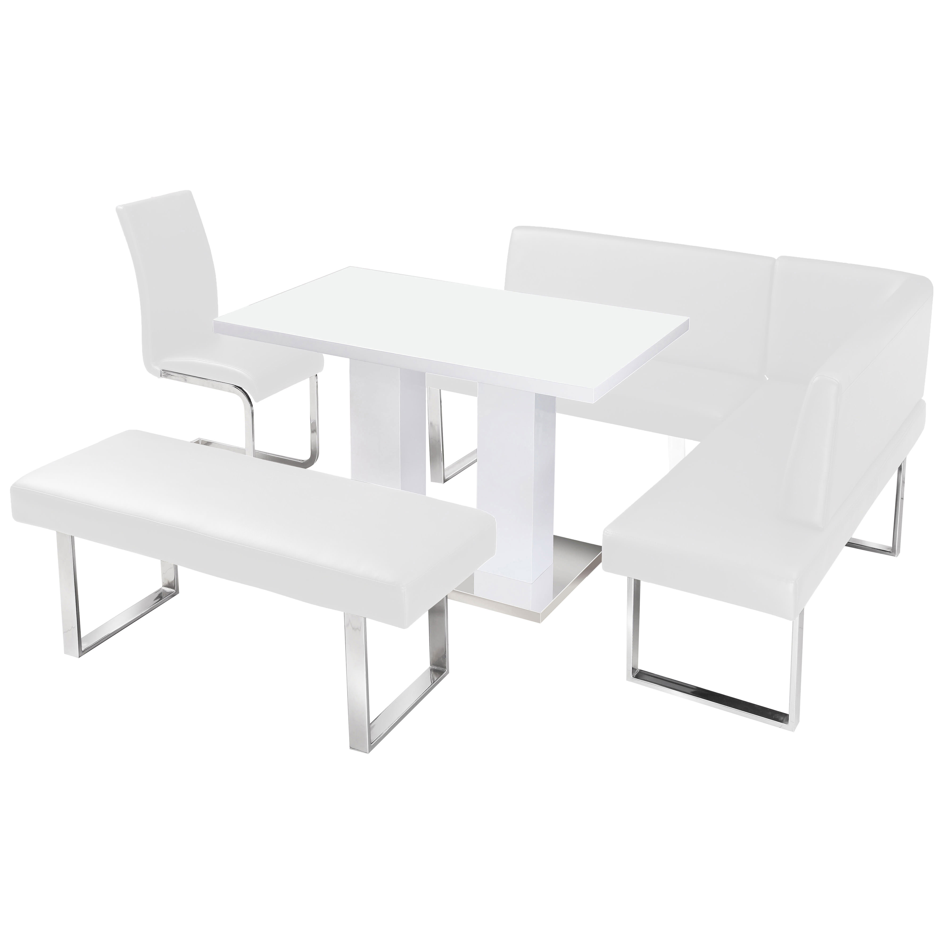 Corner Dining Chair: High Gloss Dining Table And Chair Set With Corner Bench