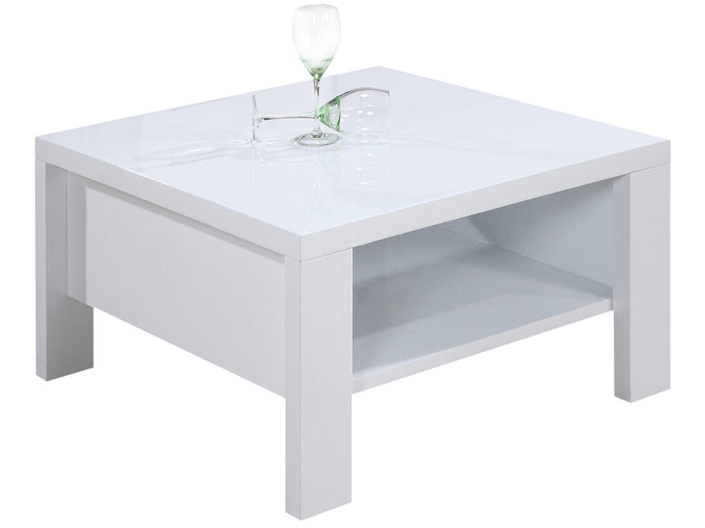 High Gloss White Square Coffee Table With Shelf