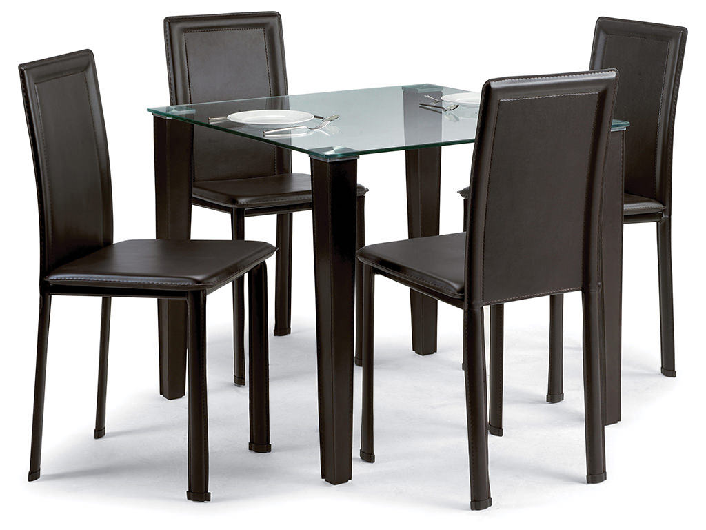Glass Square Dining Table And Chair Set With 4 Dark Brown