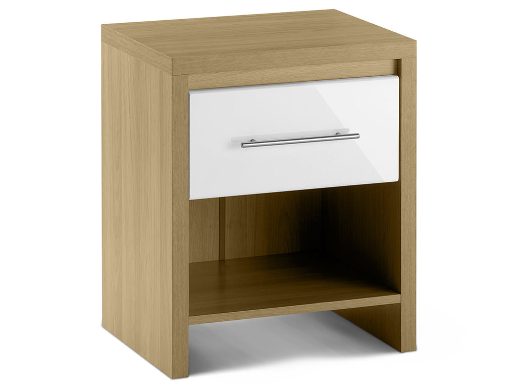 Oak & High Gloss White Bedside Cabinet Bedroom End Lamp