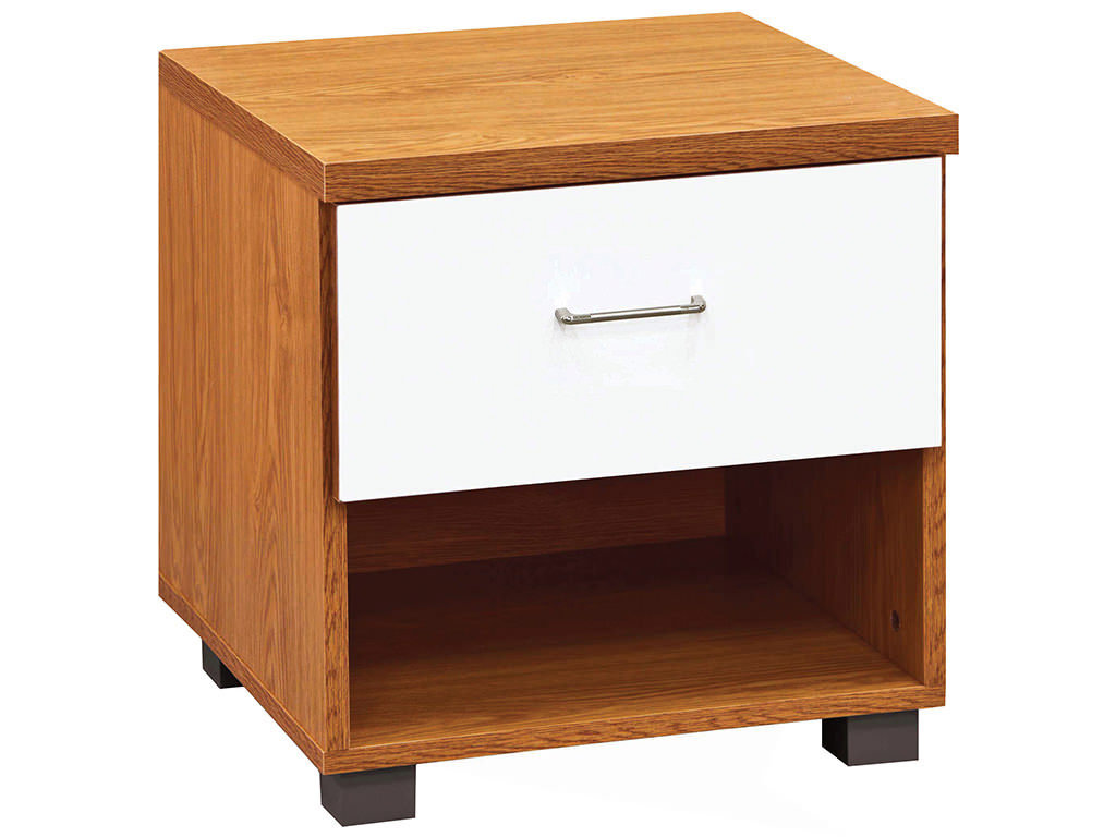 High Gloss White & Dark Oak Finish Bedside Cabinet End