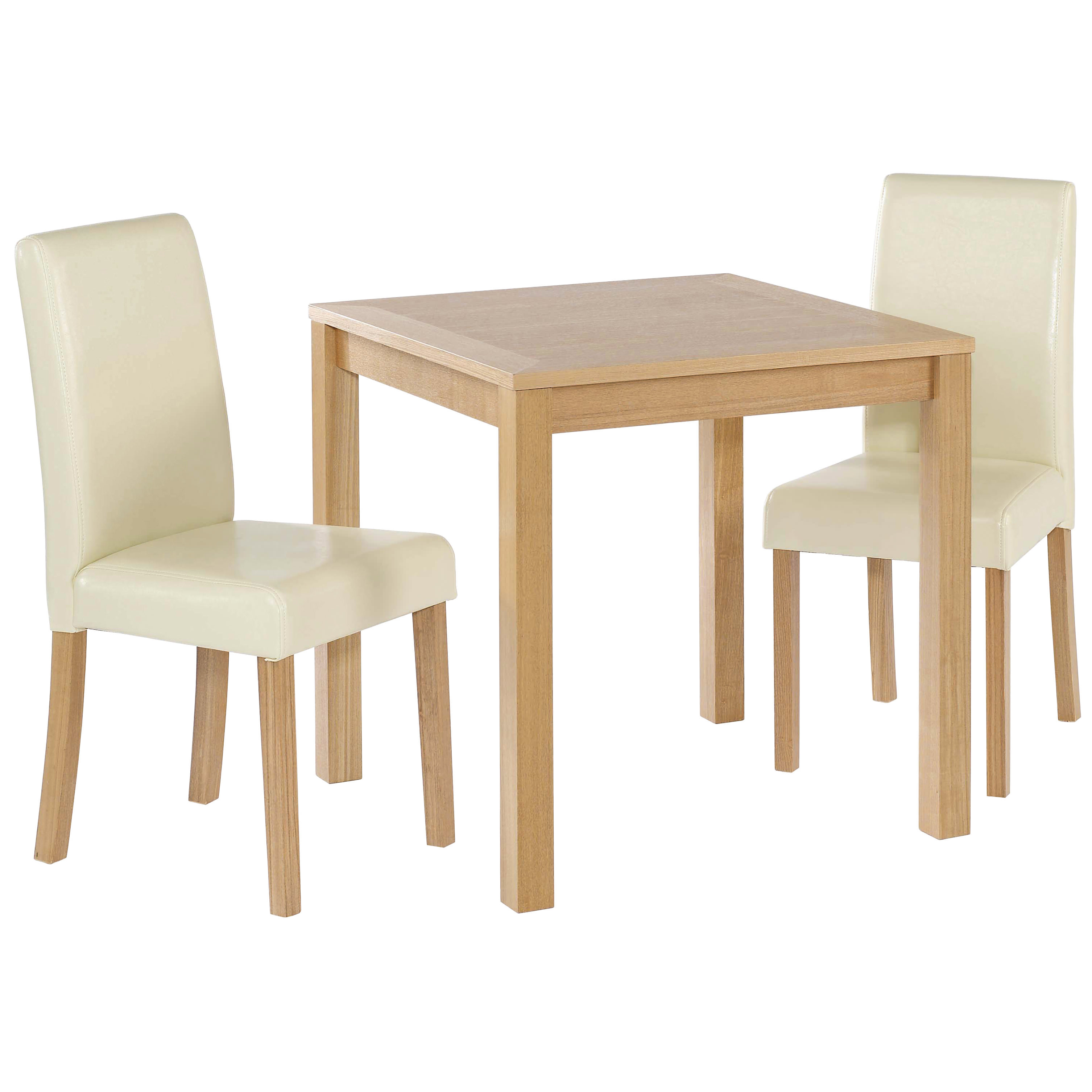 Red Dining Table Set: Oak Finish Dining Table And Chair Set 2 Leather Seats