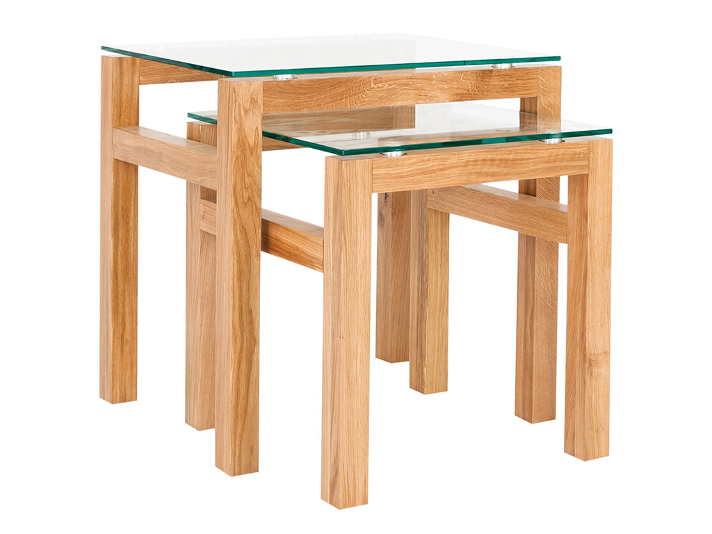 Solid American White Oak & Glass Nest Of 2 Piece Coffee
