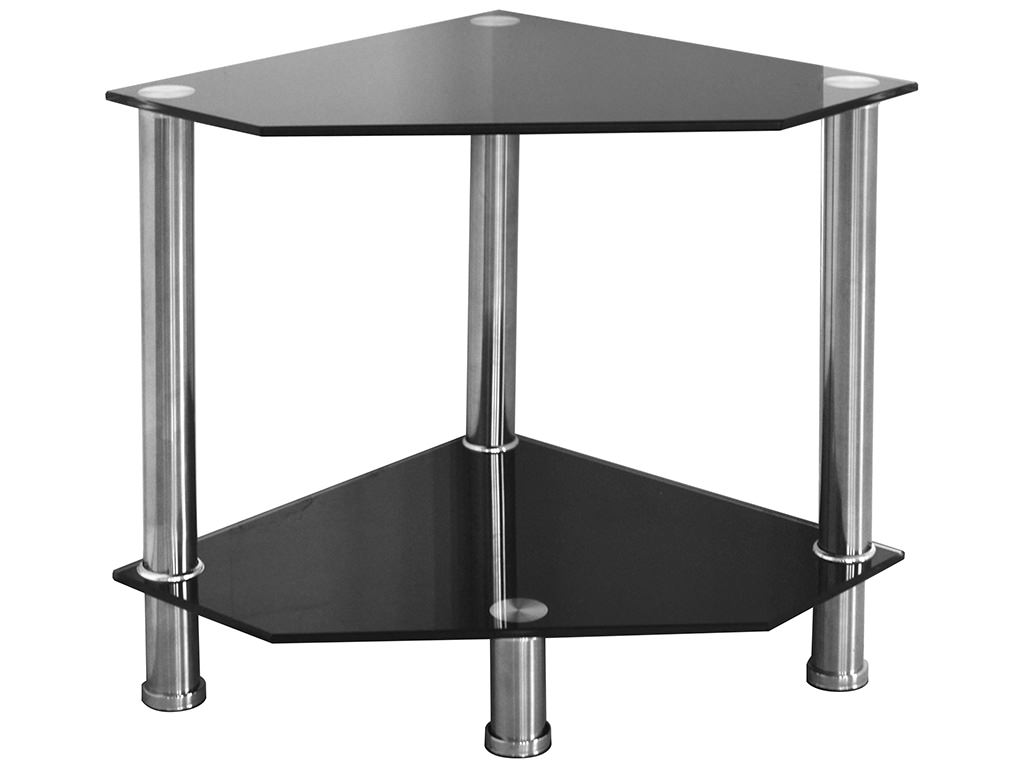 Black Glass & Silver End Lamp Small Side Table With Shelf