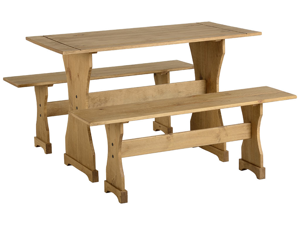 Distressed Waxed Pine Finish Dining Table And Bench Set