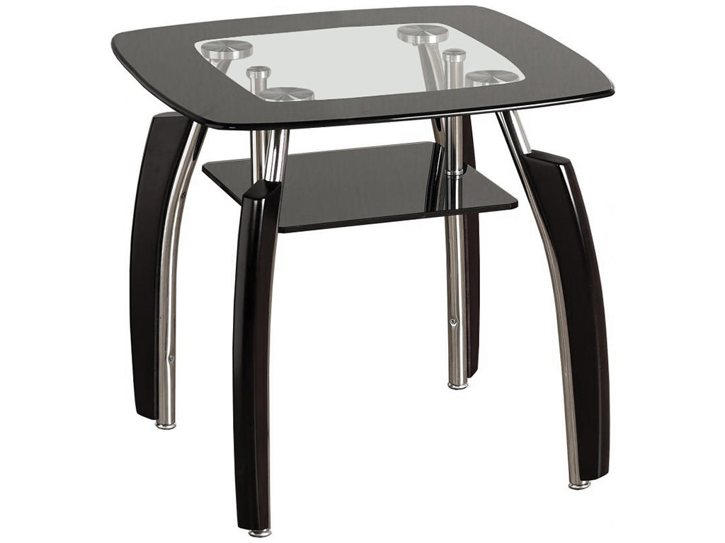 Black & Clear Glass End Lamp Small Side Coffee Table