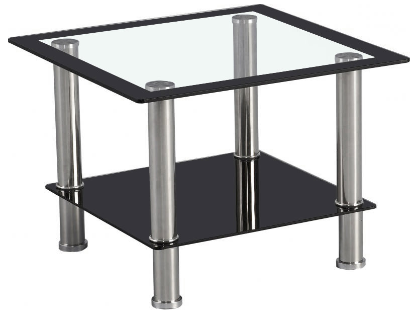 Small Black Glass Tables: Black & Clear Glass End Lamp Small Side Coffee Table