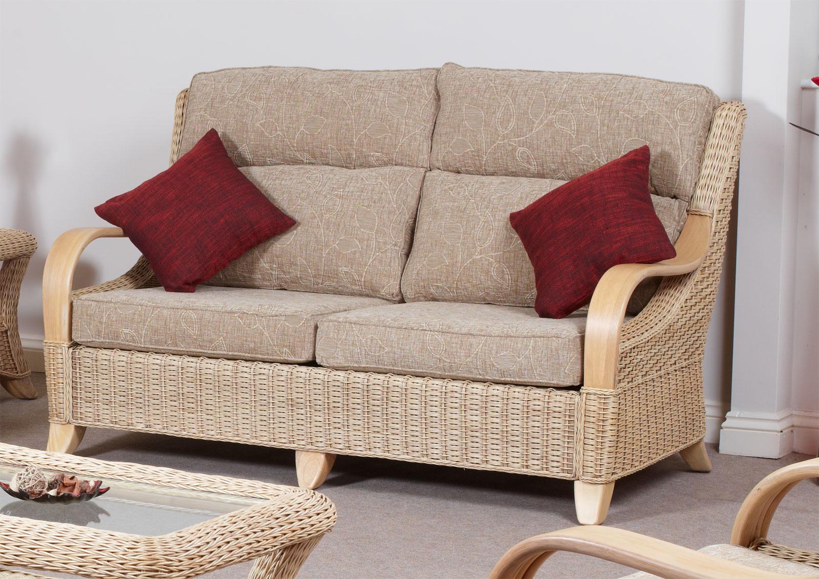 Hilton Conservatory Cane Furniture Large Wicker Sofa
