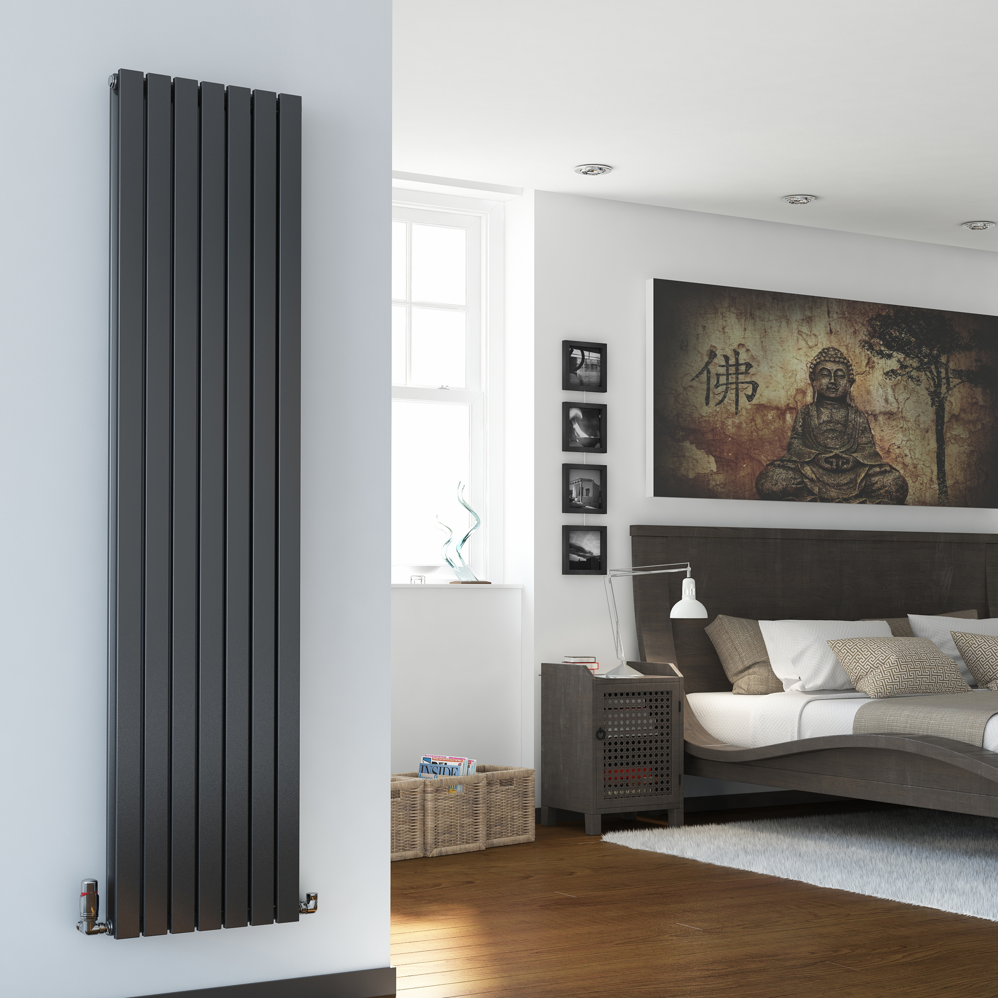 vertical designer radiator tall flat panel column. Black Bedroom Furniture Sets. Home Design Ideas