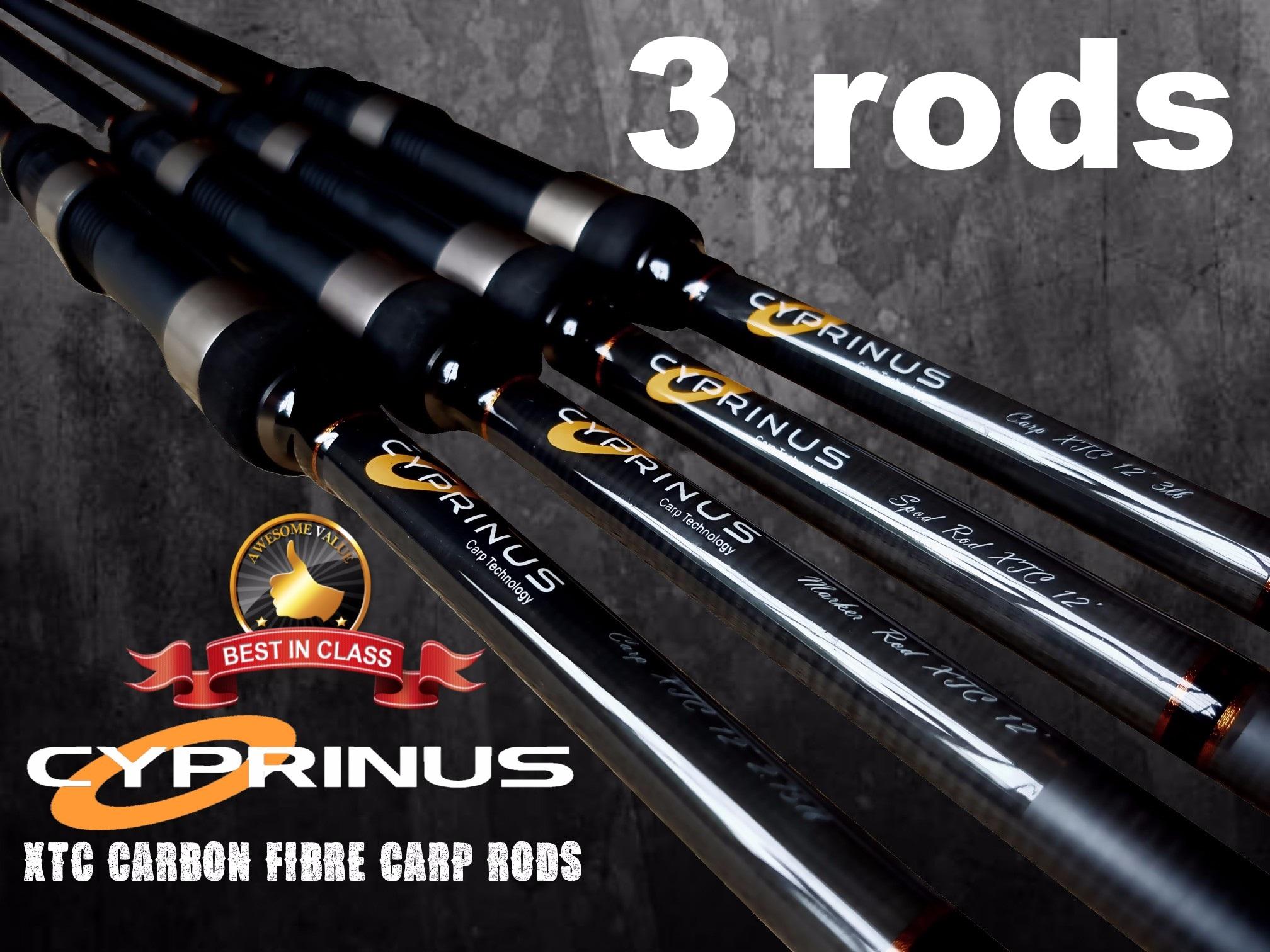 Cyprinus-XTC-Graphite-Carbon-12-039-ft-2-75lb-3lb-Carp-Fishing-Rod-Marker-amp-Spod