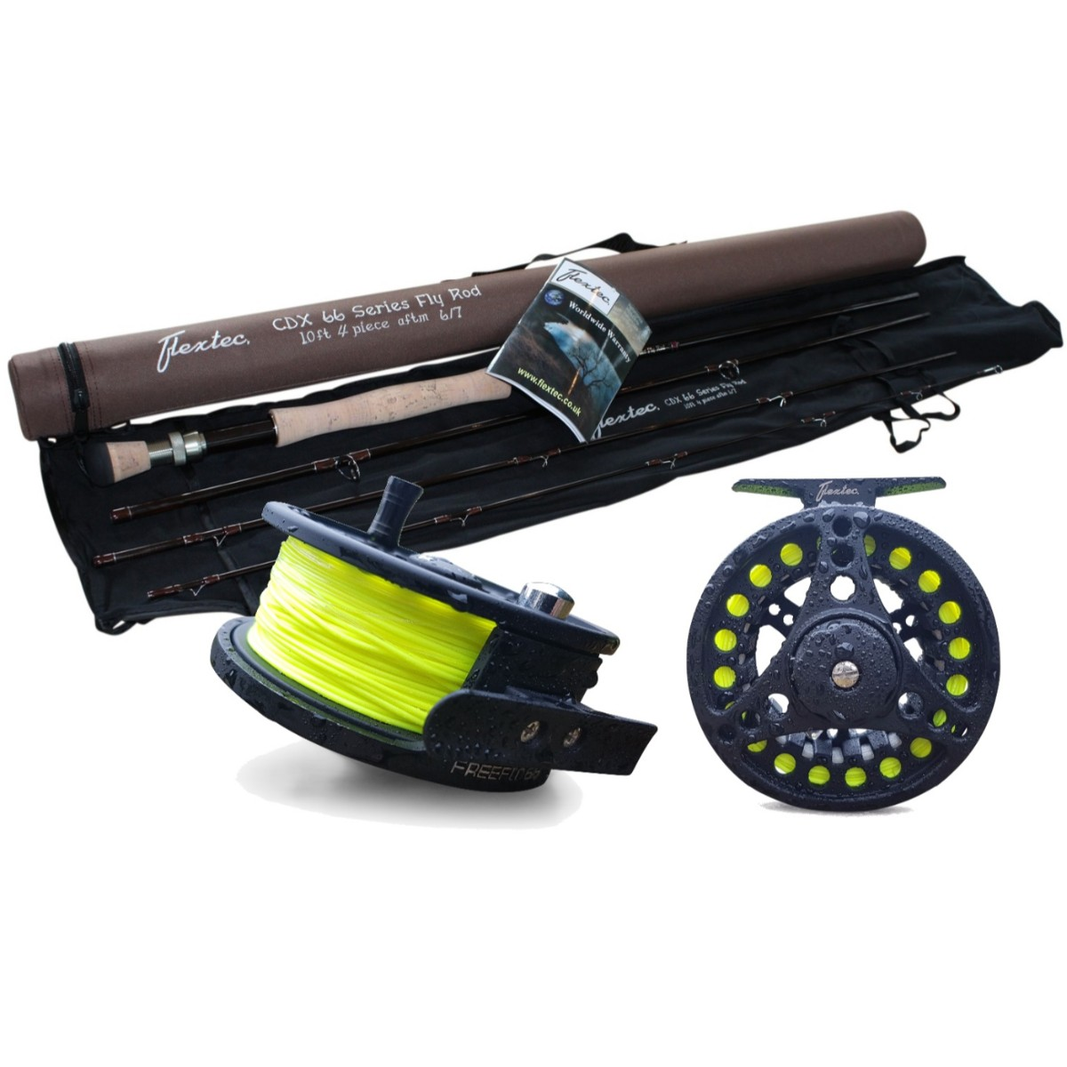 Flextec-Carbon-Fibre-Fly-Fishing-Rod-kit-with-Fly-Reel-Floating-Line-All-Sizes miniatuur 8