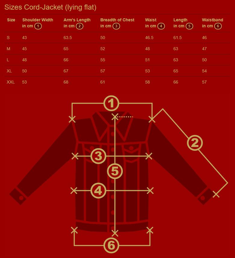 Chenaski Jackets Size Chart