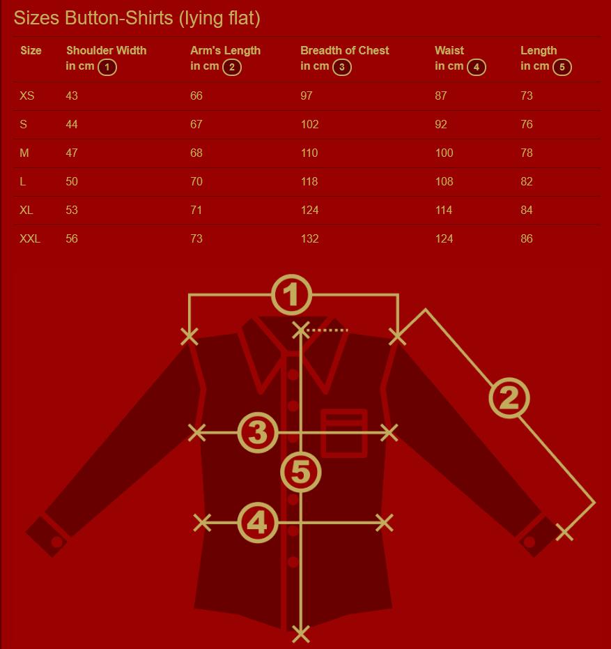 Chenaski Shirts Size Chart