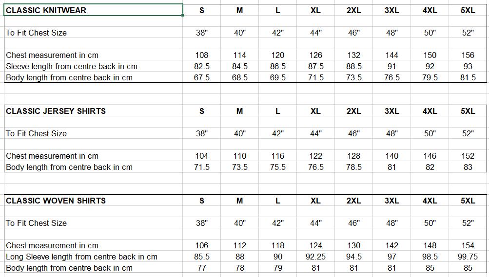 Gabicci Size Chart