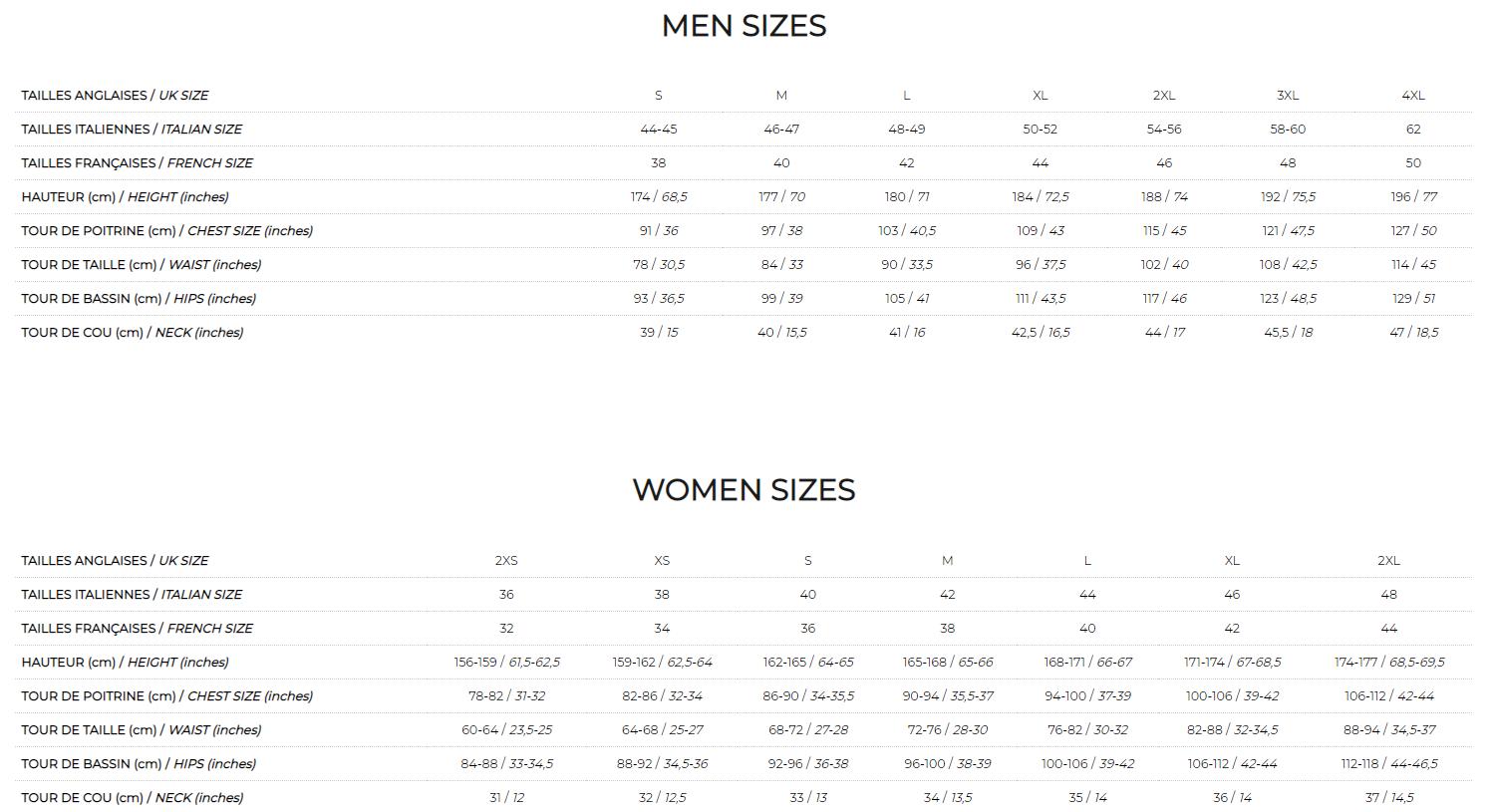 Kappa Size Chart