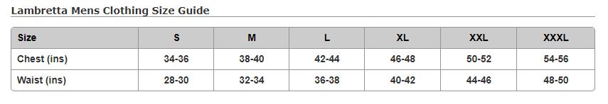 Lamretta Size Chart