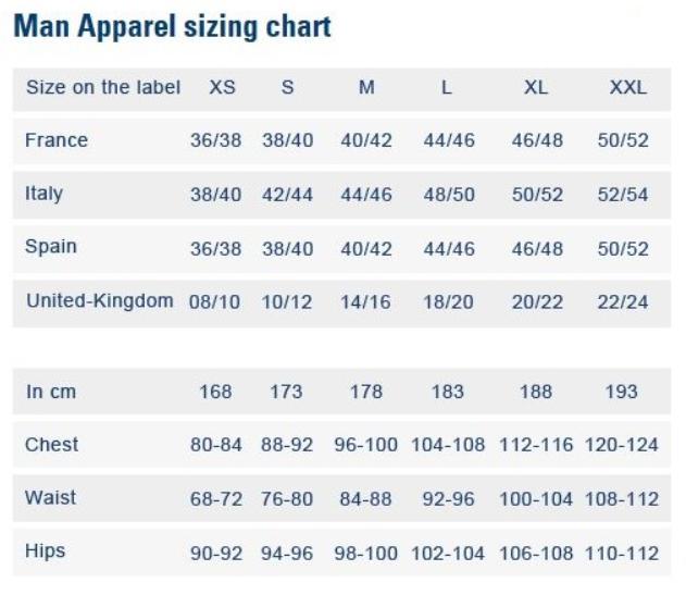 Le Coq Sportif Size Chart