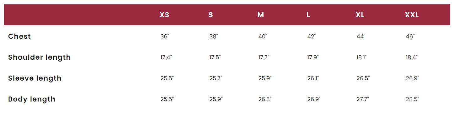 Merc Harrington Size Chart