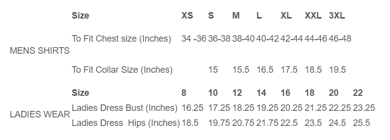 Relco Size Chart