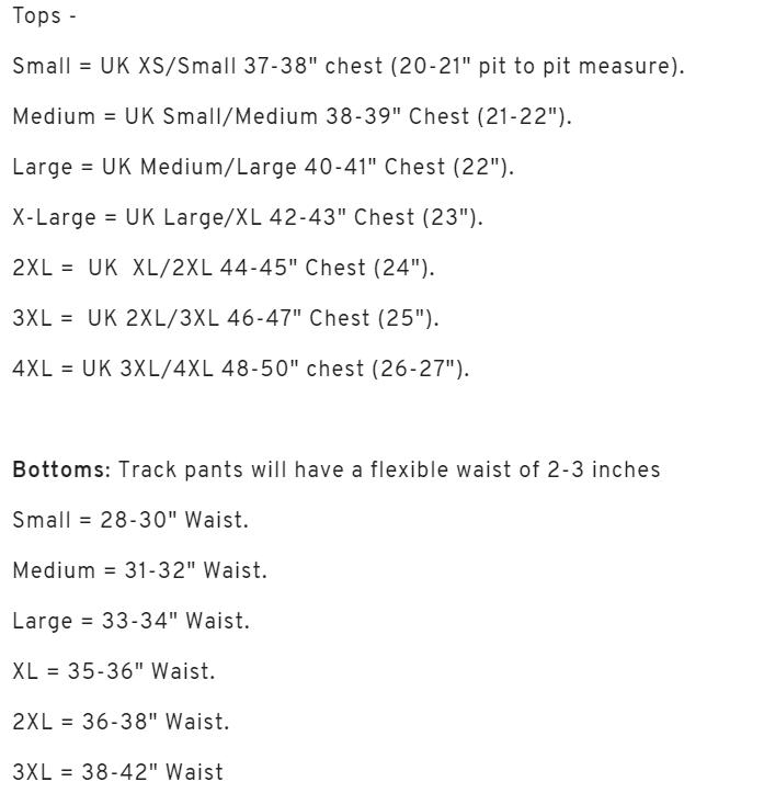 Sergio Tacchini Size Chart
