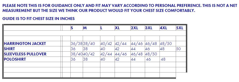 Warrior Size Chart