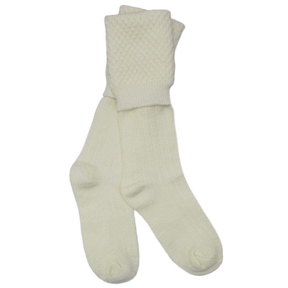Tartanista-negro-y-crema-de-valor-escoces-marchando-Piper-Bobble-Kilt-Manguera-Calcetines