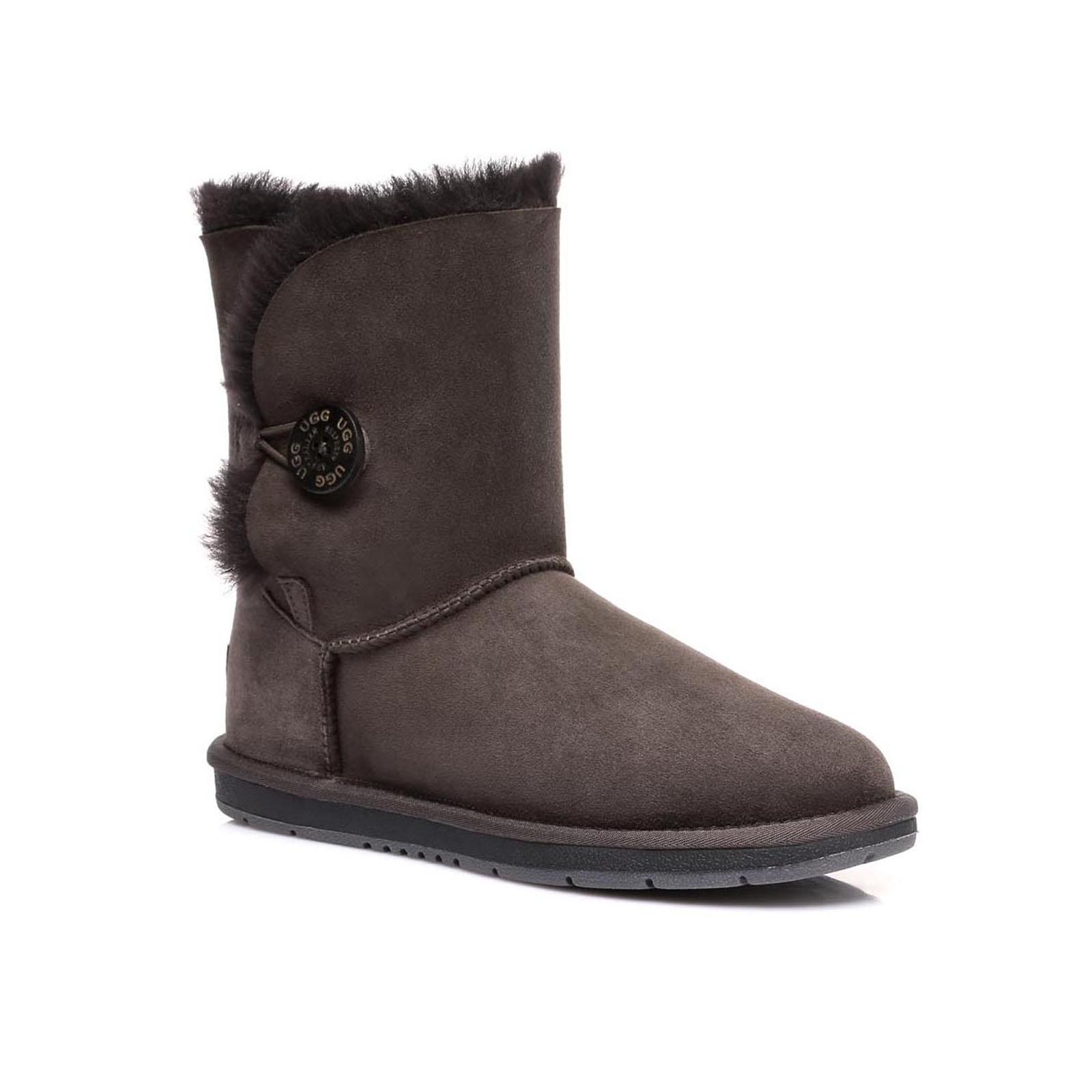 Ugg-Boots-Women-Classic-Short-Button-Shearling-Lined-Casual-Black-Size-35-41-EU