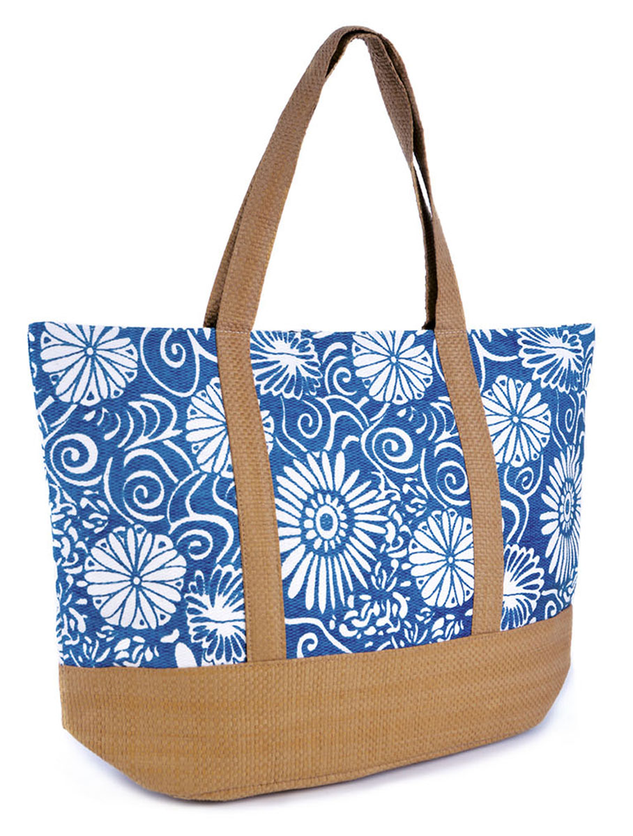 Womens-Summer-Floral-Print-Contrast-Trim-Beach-Pool-Swim-Tote-Shopping-Large-Bag