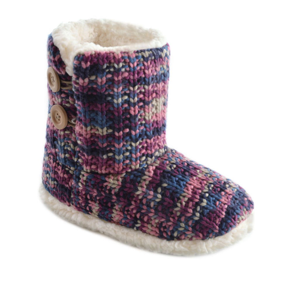 Ladies SlumberzzZ Mixed Pattern Knitted And Warm Fleece Lined Boot Slippers ...