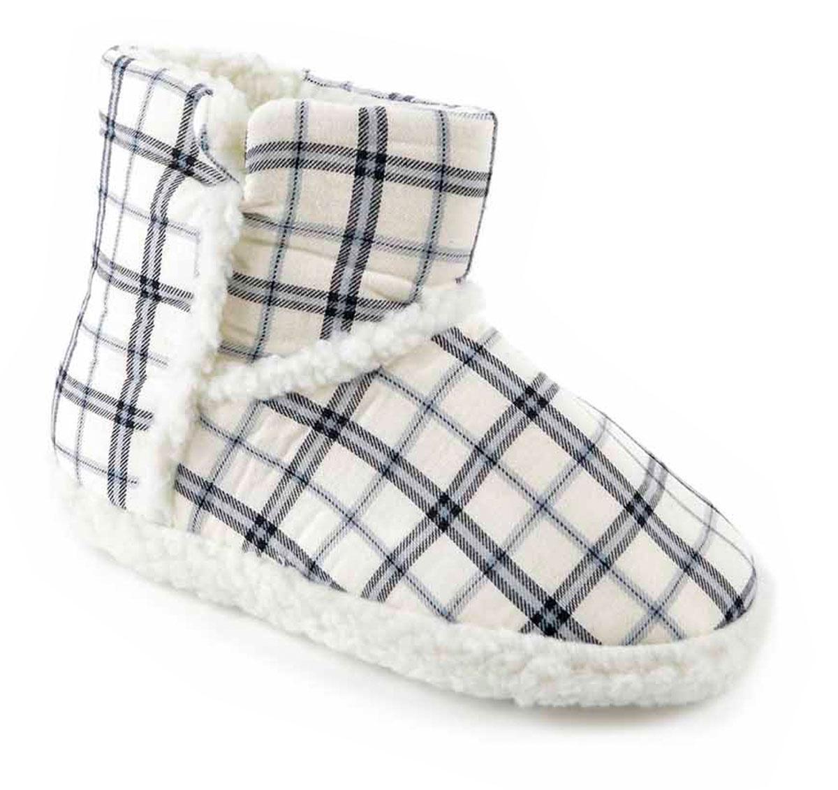 Slumberzzz Damas Tartán Diseño Cálida Lana Forrada Acolchada Zapatillas De Arranque