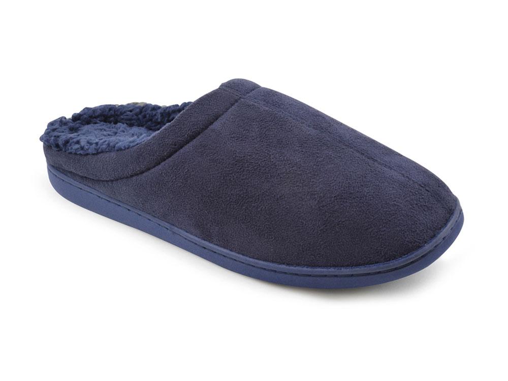 Para hombre Microfibra Sintética slumberzzz de lujo de espuma de memoria Sherpa Forrado Zapatillas Mula