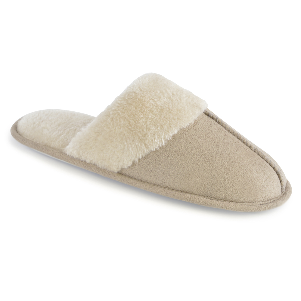 Laides slumberzzz microseuede & Brazalete de piel sintética plantilla Slip-On Mula Estilo Zapatilla
